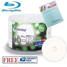 50 Smartbuy BD-R 6X 25GB Blu-ray White Inkjet Printable Disc + Micro Fiber Cloth