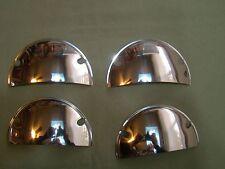 vintage style 5-3/4 inch half moon stainless steel headlight covers visors