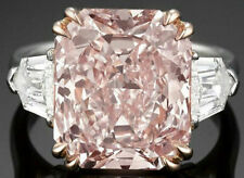 Pale Pink Radiant Shield Cut Cocktail Party Engagement Ring Sterling Silver 925