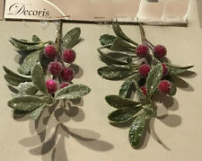 6 x Christmas Red Berry Hangers Frost Sparkle Finish Wreaths Garlands Floristry