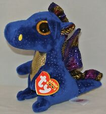 "New! 2017 Ty Beanie Boos Saffire Blue Dragon 6"" size In Hand"