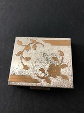 Vintage Compact by Ritz unused two tone make up gold silver tone floral design