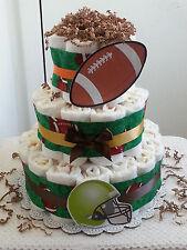 3 Tier Green Brown Sports Football Diaper Cake Baby Shower Gift Centerpiece Boy