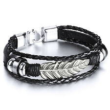 MENDINO Men's Alloy Leather Bracelet Woven Braided Tribal Angel Feather Clasp