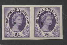 1954. 9d violet imperforate pair. Ex-Waterlow archives. Fine unmounted mint.