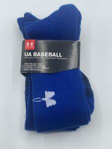 Under Armour Ua 2 Pack Over The Calf Baseball Sock Adult Medium- Blue