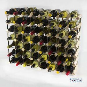 Cranville wine rack storage 56 bottle pine wood and metal wine rack assembled