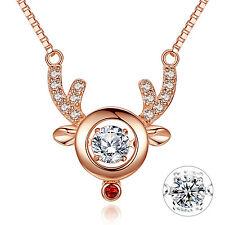 Dancing Cz Pendant Rose Gold 925 Solid Sterling Silver Deer Antler Necklace