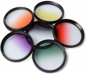 52mm Lens ND Filter Set 6x Graduated Color Filter Kit with Case for Nikon Canon