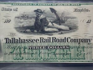 1859 -1870's $3 Florida, TALLAHASSEE Railroad Co. Note PMG 64 EPQ Choice Unc #MB