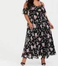 88e773b578c Torrid 1x 14-16 Black Floral Cold Shoulder Chiffon Maxi Dress
