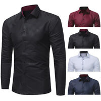 Men Casual Stylish Slim Fit Long Sleeve Casual Business Formal Dress Shirts Tops