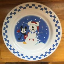 """Disney China 9"""" Plate Mickey Mouse Snowman Set of 3"""