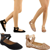 Women Criss Cross Elastic Strap Ballerina Ballet Flats Mary Jane Back Zip Loafer