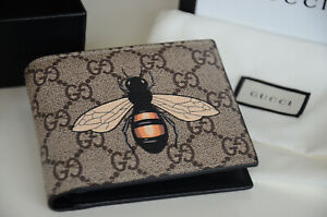 Authentic Gucci GUCCISSIMA BEE PRINT CANVAS Leather Wallet Bifold Purse
