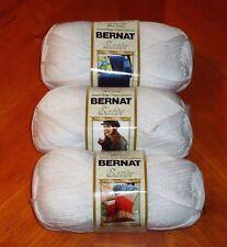 Bernat Satin Yarn Lot Of 3 Skeins (Snow #04005) 3.5 oz. Skeins