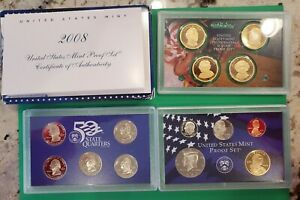 2008 United States Mint Proof Set. 14 Coin Set with Certificate of Authenticity.