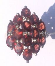 6.03cts Cuamba Garnet Cluster Ring  Sterling Silver Ring. Size L/M. BNWT