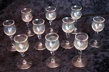 Lot of 10 vintage stemmed cordial glasses pearlescent