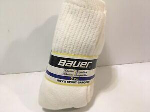 Vtg Bauer 3 Pack Boys Sport Garcons Socks 8-10 Cotton Blend Canada Irregulars