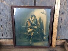 Antique William Taylor & Son Co. Framed Print Unknown Title Old Woman Weaving