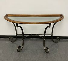 Ethan Allen Demilune Wood & Wrought Iron Console Table w/ Beveled Glass Insert