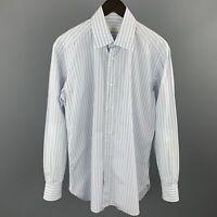 BRIONI Size M Light Blue Stripe Cotton Button Up Long Sleeve Shirt