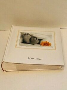 Baby Photo Album Book White With Baby Feet and Yellow Daisy