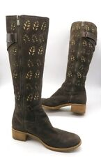 TIMBERLAND Size 7 Brown Suede Perforated Leaf Cozy Lined Knee High Boots