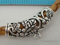 1x OXIDIZED STERLING SILVER FLOWER PENDANT SLIDE BAIL CONNECTOR 25.7mm  #2148