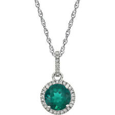 "1/10 ct.tw. Diamond  and Created Emerald 14k White Gold 18""  Pendant Necklace"
