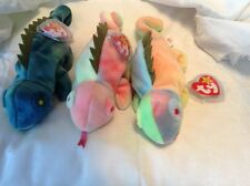 3 Iggy the iguana's beanie babies one rare wrong tag plus PVC pellet no tongue