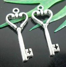20Pcs Zinc Alloy Key Charms Pendants 26x11mm (Lead-free)