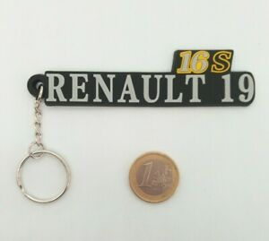 ⭐🇫🇷NEUF SUPERBE PORTE CLE RENAULT 19 16S R19 NOIR CADEAU DECO GARAGE LOGO