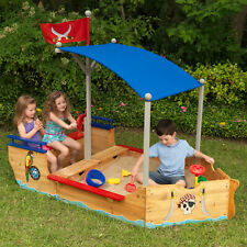 Kidkraft Pirate Sandboat | Kids Wooden Outdoor Pirate Sand Pit Box | Pirate Ship