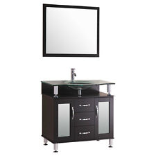 "30"" Espresso Vanity Cabinet LV1-30B with Sink Glass Top and Mirror by LessCare"