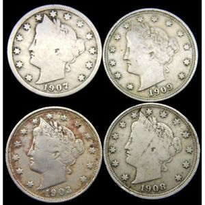 4 x 5 Cent Liberty Nickel Coins USA 1903 1907 1908 1909 Good Grades