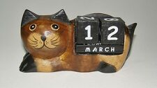 Laying Down Cat Perpetual Calendar, Desk Ornament, Wooden Fair Trade NEW 15cm