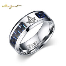 Masonic Rings Stainless Steel Men Ring with Blue Carbon Fiber Jewelry Best Gift