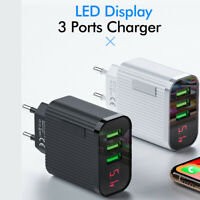 Digital Display Phone EU Plug Charger 3 Port USB 3A Max Travel Charger Adapter*