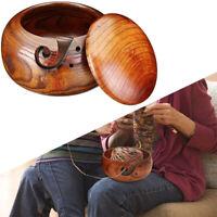 Wooden Yarn Bowl Holder Skeins Knitting Crochet Thread Storage Box with Lid FM