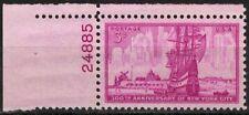US 1953 #1027 - 3c 300th Anniv New York City PNS Plate No Single OG MNH XF-Sup