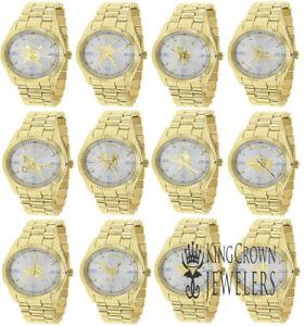 Zodiac Sign Astrology Analog Solid Steel Custom Metal Band Watch 18K Gold Finish