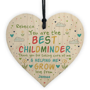 Personalised Childminder Teacher Gift Wood Heart Pre School Nursery Thank You