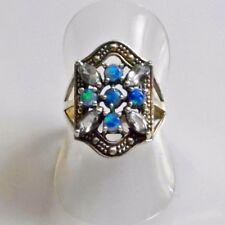 Antik Style Navette Aquamarin Australian Opal Ring 925er Silber 54 (17,2 mm Ø)