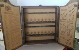 Vintage Sherlock Holmes Charing Cross Pipe Collection Wood Display Cabinet