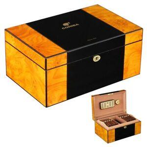 COHIBA Large Humidor Box Cigar Case Glossy Piano Finish Humidifier Hygrometer