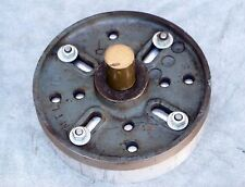 """Lathe Face Plate MTL 15 threaded 6 1/4"""" diameter with aluminum plate attached"""
