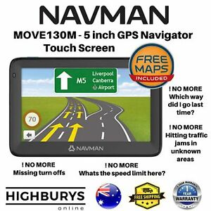 """Navman MOVE130M 5"""" Touch GPS Navigator w/ Speed and Safety Alerts Avoid Traffic"""
