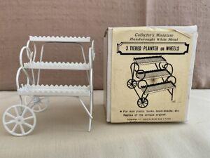 Vintage Shackman Dollhouse Furniture Miniatures 3 Tiered Planter on Wheels Metal